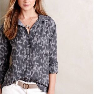 Cloth & Stone Leopard Split Back Button Down